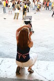 A tourist taking photo. In Venice - Italy stock photography