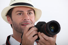 Tourist taking a photo Royalty Free Stock Photography