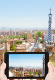 Tourist taking photo of Barcelona cityscape Stock Photos