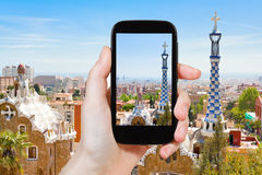 Tourist taking photo of Barcelona landscape Royalty Free Stock Image