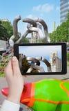 Tourist taking photo of Berlin symbols Stock Image
