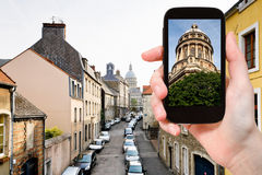 Tourist taking photo of Boulogne-Sur-Mer, France Royalty Free Stock Image