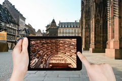 Tourist taking photo of cathedral in Strasbourg Royalty Free Stock Photos