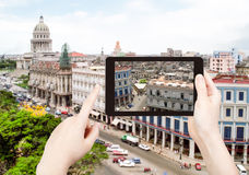 Tourist taking photo of center Havana city Stock Photography