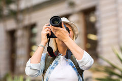 Tourist taking photo Stock Images