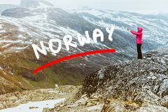 Tourist taking photo from Dalsnibba viewpoint Norway Royalty Free Stock Images