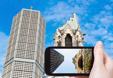 Tourist taking photo of gedachtniskirche in Berlin Stock Photos