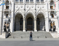 Tourist taking photo at Hungarian Parliament Royalty Free Stock Photos