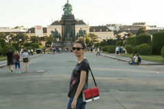 Tourist taking photo at Maria Theresa monument in Vienna Stock Photography