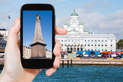 Tourist taking photo of Market Square in Helsinki Royalty Free Stock Photography