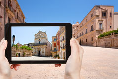 Tourist taking photo of medieval Episcopal Palace Royalty Free Stock Photo