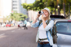 Tourist taking photo Royalty Free Stock Photography