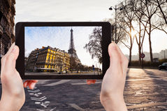 Tourist taking photo of Quay Branly in Paris Royalty Free Stock Image