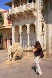 Tourist taking photo of Rajendra Pol in Jaipur City Palace, Raja Stock Photos