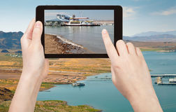 Tourist taking photo recreation area on Lake Mead Stock Images