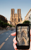 tourist taking photo of Reims Royalty Free Stock Images