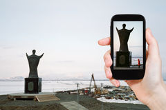 Tourist taking photo of Saint Nicholas Monument Royalty Free Stock Images
