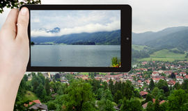 Tourist taking photo of Schliersee town, Bavaria Royalty Free Stock Photo