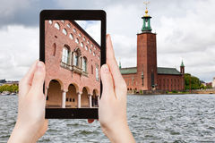 Tourist taking photo of Stockholm City Hall Royalty Free Stock Image