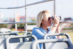 Tourist taking photos city Royalty Free Stock Photo