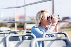 tourist taking photos city Royalty Free Stock Photo