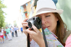 Tourist taking photos in La Boca. Tourist taking picutre in La Boca neighborhood, Buenos Aires Stock Images
