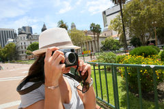 Tourist taking photos in Plaza de Mayo in Buenos Aires. Tourist taking picture in Plaza de Mayo, Buenos Aires Stock Photo