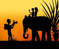 Tourists and the elephant. Tourist taking photos of two children sitting on an elephant vector illustration Stock Photography