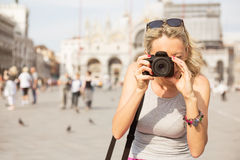 Tourist taking photos in Venice Royalty Free Stock Images
