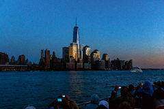 Tourist taking photos of the World Trade Center. In the evening editorial Stock Photography