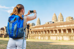 Tourist taking picture of the Angkor Wat, Cambodia Stock Photo