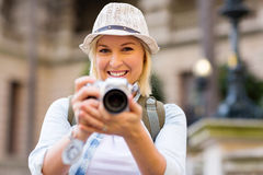 Tourist taking picture Stock Photography