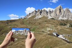 Taking picture of the Dolomites royalty free stock images