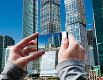Tourist taking a picture of Moscow City buildings  in Moscow Royalty Free Stock Photo