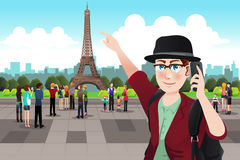 Tourist Taking Picture Near Eiffel Tower Royalty Free Stock Photo