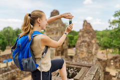 Tourist taking picture of the Pre Rup, Angkor, Cambodia Royalty Free Stock Images