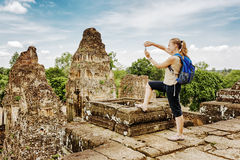 Tourist taking picture in the Pre Rup temple, Angkor, Cambodia Stock Photos