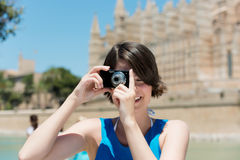 Tourist taking pictures in Palma de Mallorca Stock Image