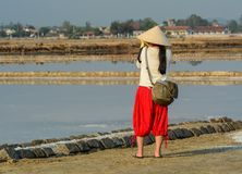 A tourist taking pictures on the salt field royalty free stock image