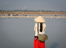 A tourist taking pictures on the salt field in Vietnam royalty free stock image