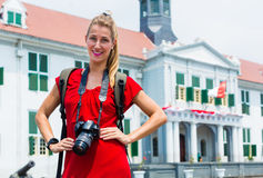 Tourist taking pictures sightseeing in Jakarta, Indonesia Royalty Free Stock Photography