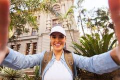 Tourist taking selfie Stock Image