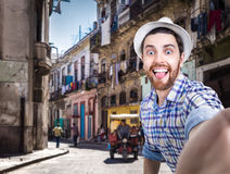 Tourist taking a selfie photo in Havana, Cuba Royalty Free Stock Images