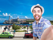 Tourist taking a selfie photo in Havana, Cuba Royalty Free Stock Photography