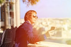Tourist taking a selfie photo in Malta, Europe Royalty Free Stock Photography