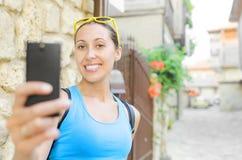 Tourist taking selfie Royalty Free Stock Photo