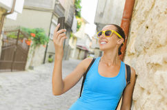Tourist taking selfie Royalty Free Stock Photos