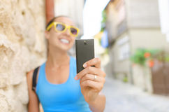 Tourist taking selfie Royalty Free Stock Images
