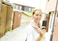 Tourist taking selfie Royalty Free Stock Photography