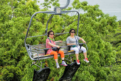 Tourist taking a Skyride Stock Photography